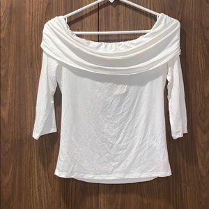 Forever 21 White Cream Off Shoulder 3/4 Sleeve Top